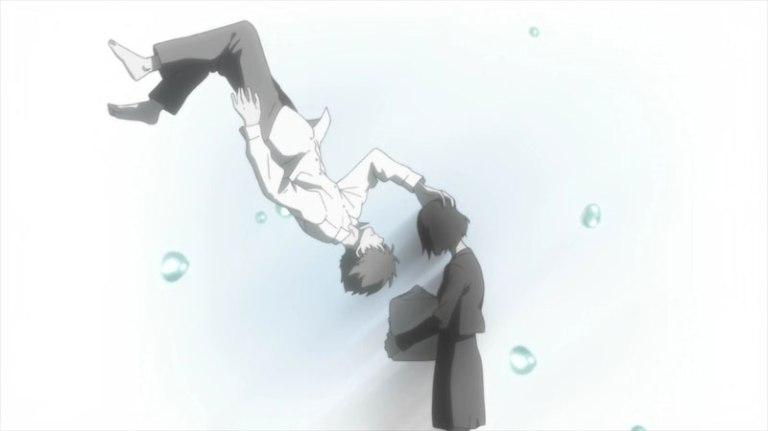 Shimao caresses Rokka's head as she cradles his ashes. Photo courtesy anime-planet.com.